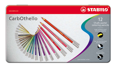 STABILO CarbOthello chalk-pastel coloured pencil metal box of 12 colours
