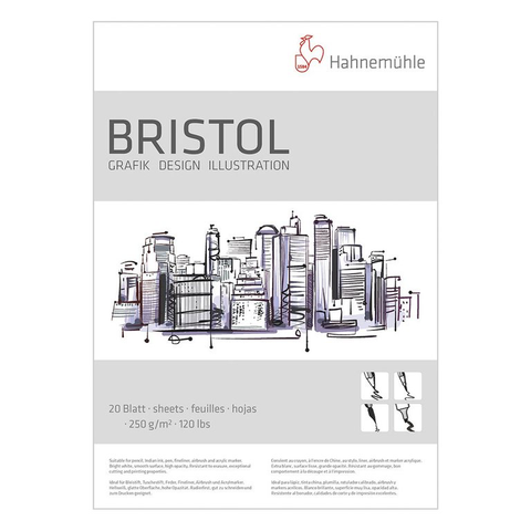 Hahnemühle Bristol Board A3 250 gsm smooth drawing pad x 20 sheets