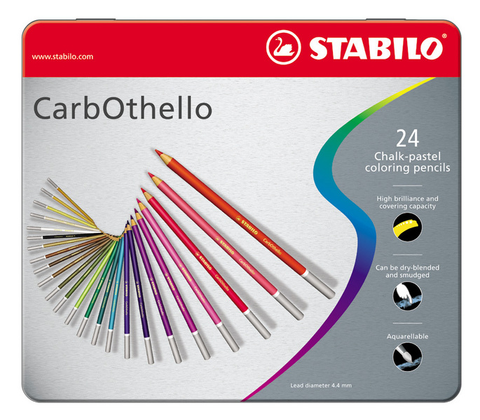 STABILO CarbOthello chalk-pastel coloured pencil metal box of 24 colours