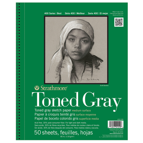 "Strathmore 400 Series Toned Grey - Wire Bound (9x12"") 50 Sheets"