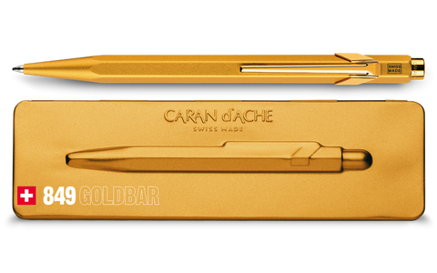 Caran d'Ache 849 Goldbar Ballpoint pen and holder paperstory uk