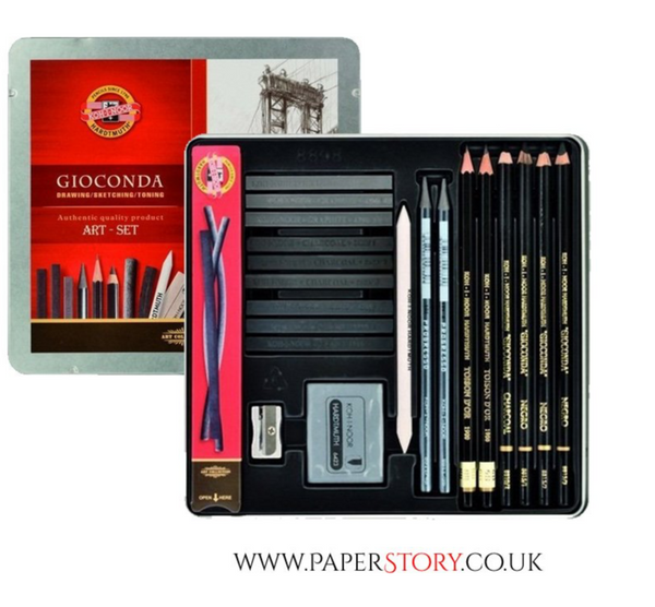 Drawing Set from Koh-I-Noor, has cling wrap, with storage tin, contents include a mix of graphite and charcoal, 23 pieces in total.