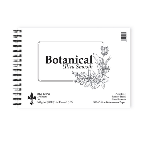 Botanical Ultra Smooth Hot Pressed : St Cuthberts : Watercolour 300 gsm ( 140 lb) Fat Pad A3