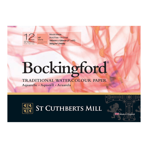 Bockingford : Watercolour Paper Glued Pad 300gsm  : Hot/Smooth : 7 x 5 inches