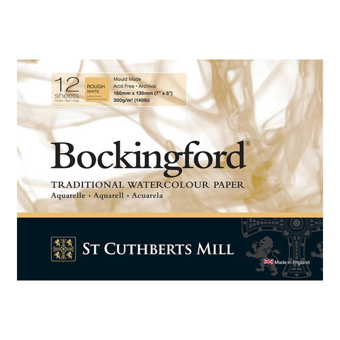 Bockingford : Watercolour Paper Glued Pad 300gsm  : Rough : 7 x 5 inches : 12 Sheets