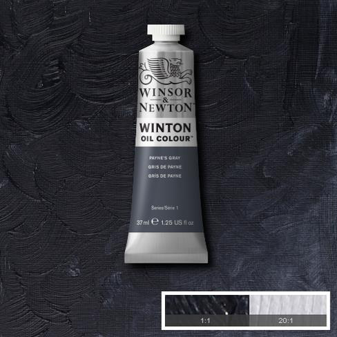 Payne's Gray is a dark blue grey made from a mixture of Ultramarine, Mars Black and sometimes Crimson. It was named after the 18th c. water-colourist William Payne who created the mixture and often recommended it to his students as an alternative to plain black.
