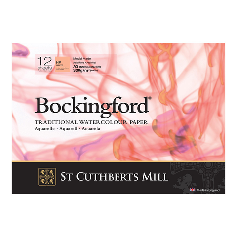 Bockingford : Watercolour Paper Glued Pad 300gsm  : Hot/Smooth : A3 : 12 Sheets