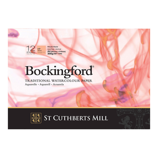 Bockingford : Watercolour Paper Glued Pad 300gsm  : Hot/Smooth : A4: 12 Sheets