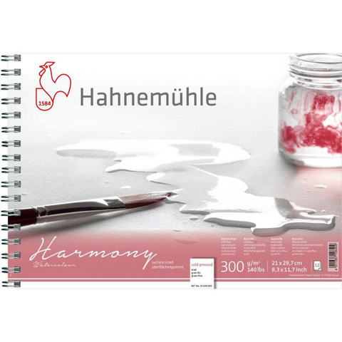Hahnemühle Harmony Watercolour NOT / Cold Pressed Spiral Bound 300gsm x 12 sheets : A4