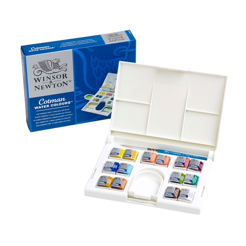 Winsor and Newton Watercolour Cotman Paint : Compact Set : 14 Half Pans