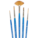 Winsor and Newton Cotman Watercolour Brush  Set of 5 Includes Fan, Rigger, Round  & Angled