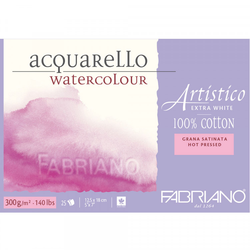 FABRIANO ARTISTICO ACQUARELLO WATERCOLOUR PAPER 100 % COTTON EXTRA WHITE 300 GSM : 9 X 12
