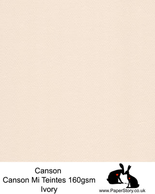 Canson Mi Teintes acid free, Ivory hammered texture honeycomb surface paper 160 gsm. This is a popular and classic paper for all artists especially well respected for Pastel  and Papercutting made famous by Paper Panda. This paper has a honeycombed finish one side and fine grain the other. An authentic art paper, acid free with a  very high 50% cotton content. Canson Mi-Teintes complies with the ISO 9706 standard on permanence, a guarantee of excellent conservation