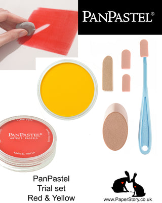 PanPastel trial kit, a perfect way to try PanPastel pans with two complementary colours and a selection of Sofft tools. Includes yellow and red stacking pans.