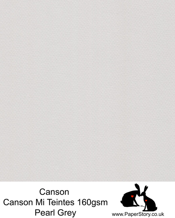 Canson Mi Teintes acid free, Pearl Grey , hammered texture honeycomb surface paper 160 gsm. This is a popular and classic paper for all artists especially well respected for Pastel  and Papercutting made famous by Paper Panda. This paper has a honeycombed finish one side and fine grain the other. An authentic art paper, acid free with a  very high 50% cotton content. Canson Mi-Teintes complies with the ISO 9706 standard on permanence, a guarantee of excellent conservation
