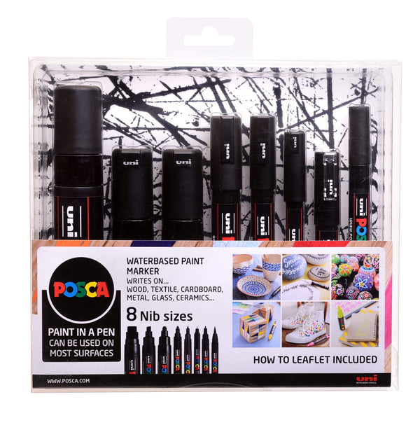 Set of 8 POSCA marker pens, all with black paint, 8 nib sizes.