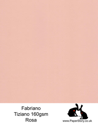 High quality paper from Italy, Rosa soft pink. Fabriano Tiziano is 160 gsm, Tiziano has a high cotton content, a textured naturally sized surface. This paper is acid free to guarantee long permanence in time, pH neutral. It has highly lightfast colours, an excellent surface making and sizing which make this paper particularly suitable for papercutting