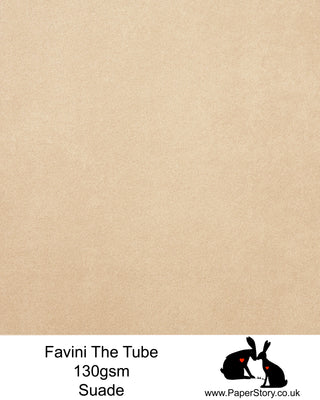 The Tube Favini Mud suade is a beautiful shade of light chocolate brown, can be used as a portrait colour or neutral brown. is an innovative matte paper and our favourite PaperCutting paper, also be use for foil and screen blocking. The subtle soft touch of this paper provides an elegance unsurpassed by any other paper.