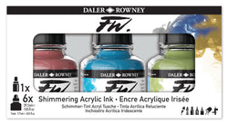 The Daler-Rowney FW Ink Shimmering  opalescent interference paints. Colours Set brings you six 29.5ml bottles of this acrylic-based ink in primary colours. Includes 6 x 29.5ml bottles of FW inks in a set. colours: 711, 713, 714, 709, 454, 028