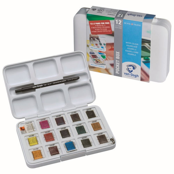 Royal Talens Van Gogh Watercolour Pocket box 15 half pans & brush
