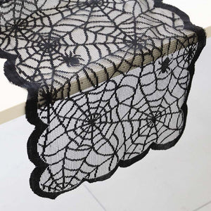 Halloween Table Runner Black Lace Spider Tablecloth
