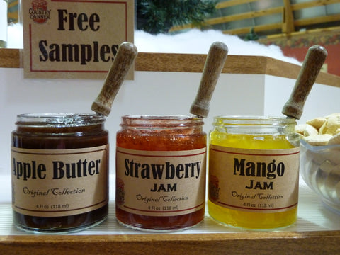 Apple butter, strawberry jam, and mango jam on our sample wheel at The Country Canner.