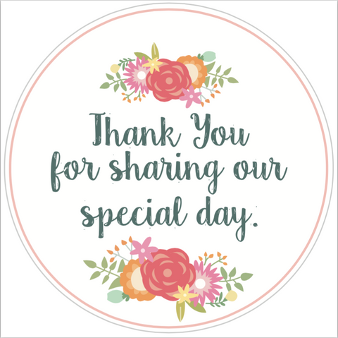 "Coral ""Thank You For Sharing Our Special Day"" Lid Sticker (#11)"