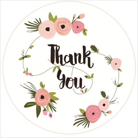 """Thank You"" Floral Lid Sticker (#7)"