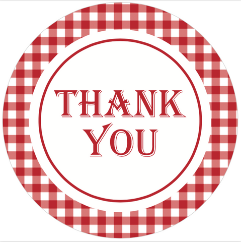 "Red Gingham ""Thank You"" Lid Sticker (#16)"