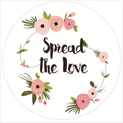 """Spread the Love"" Floral Lid Sticker (#3)"