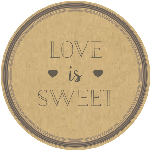 "Simple ""Love is Sweet"" Lid Sticker (#17)"