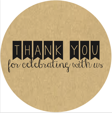 """Thank You For Celebrating With Us"" Banner Lid Sticker (#6)"