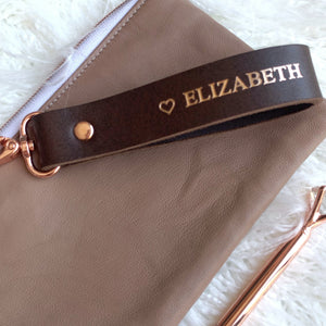 custom leather pouch personalised by pia riley of iqueenie