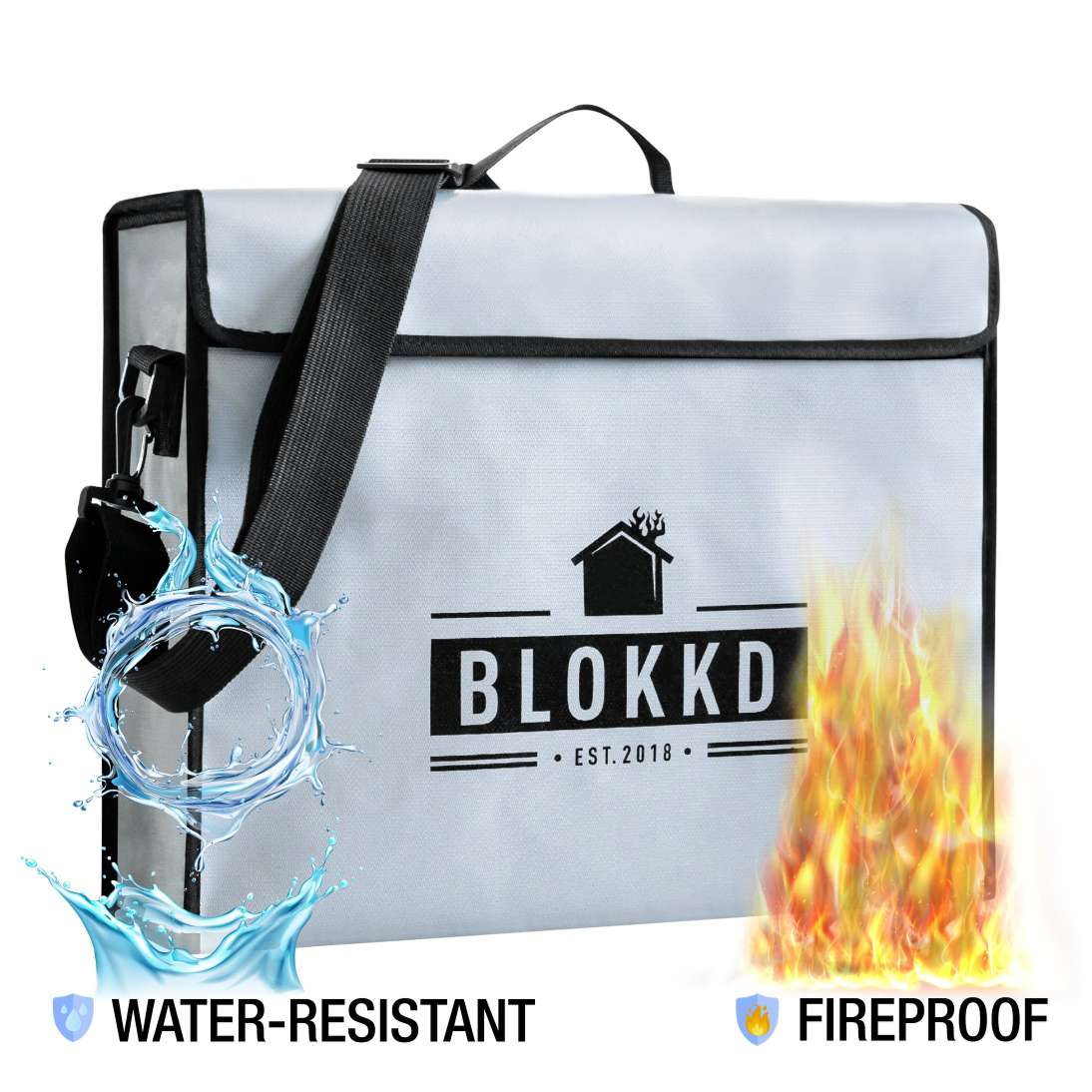 Large Fireproof & Water-Resistant Bag for Documents and Valuables Storage - 13H x 16W x 5D in.