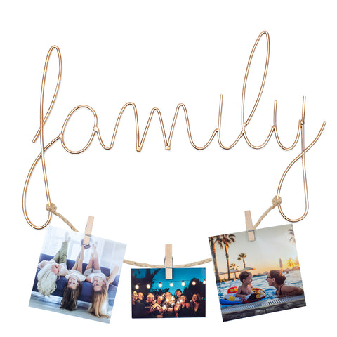 BLOKKD Family Wall Mount Metal Wire Art Word Decor with Hanging Photo Display and Wooden Clips