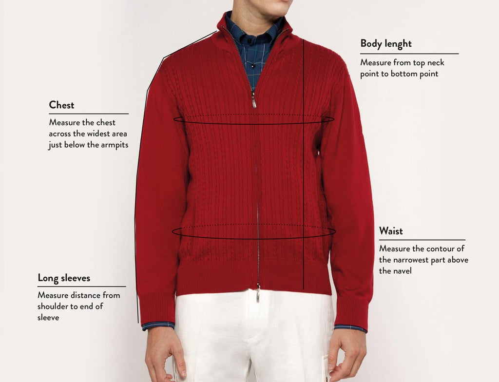 Size guide man knitwear