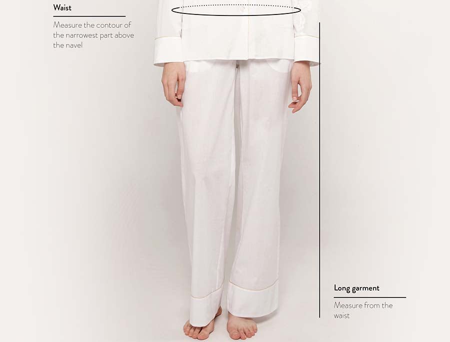 Size guide pyjama trousers woman