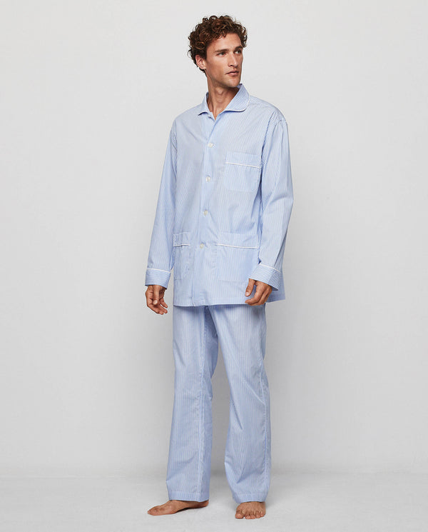 BLUE STRIPED COTTON POPLIN PYJAMA SET by MIRTO
