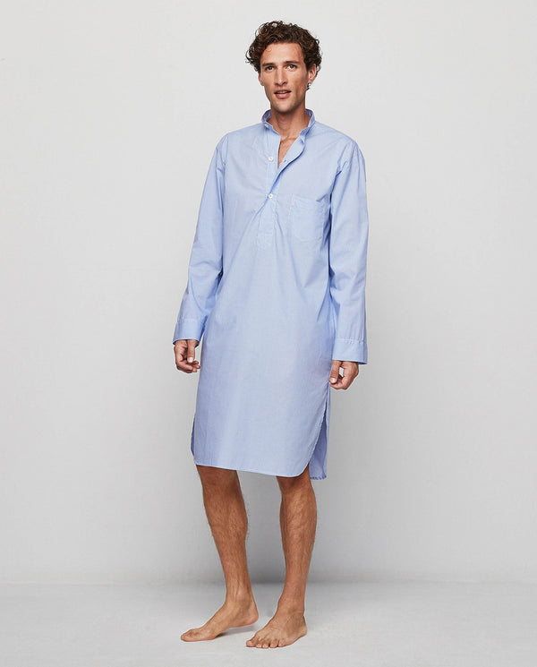 BLUE MICRO-PATTERNED LONG SLEEVED NIGHT SHIRT by M