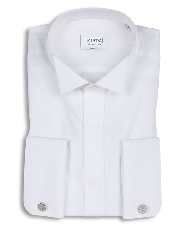 WING COLLAR TAILORED-FIT TUXEDO SHIRT by MIRTO