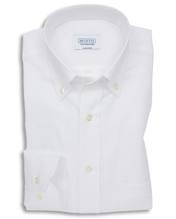 WHITE BUTTON DOWN OXFORD SHIRT (BIG&TALL) by MIRTO