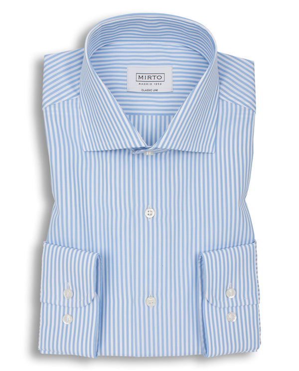 BLUE SPREAD COLLAR STRIPED-COTTON DRESS SHIRT by M