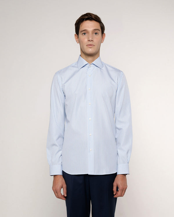 BLUE SPREAD COLLAR STRIPED-COTTON DRESS SHIRT