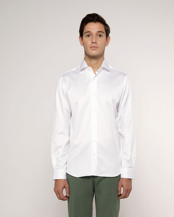 SPREAD-COLLAR WHITE TEXTURED-COTTON DRESS-SHIRT