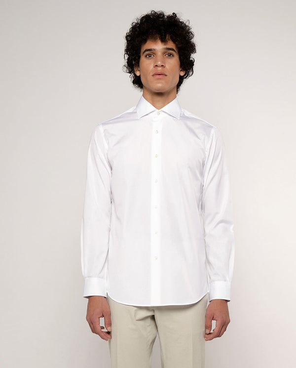 SPREAD COLLAR WHITE-POPLIN DRESS SHIRT