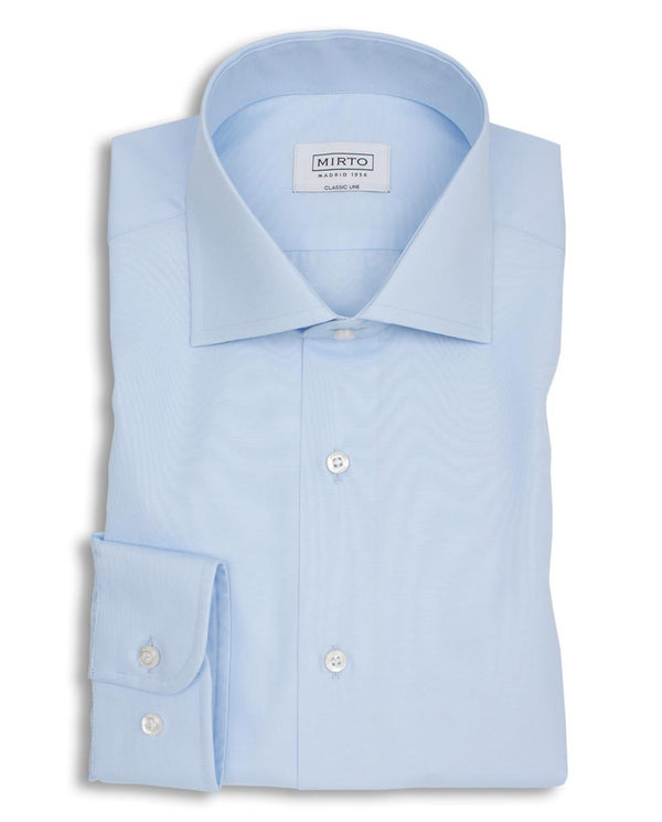 SPREAD COLLAR BLUE-POPLIN DRESS SHIRT by MIRTO