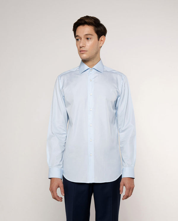 SPREAD COLLAR BLUE-POPLIN DRESS SHIRT