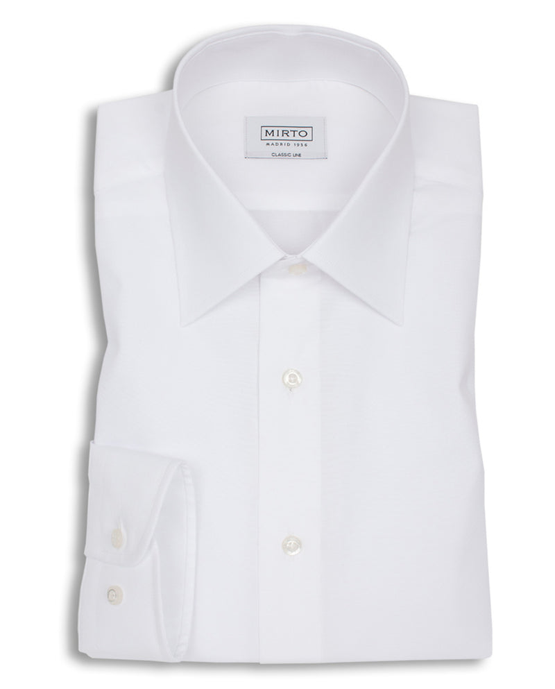 POINTED COLLAR WHITE-POPLIN DRESS SHIRT by MIRTO