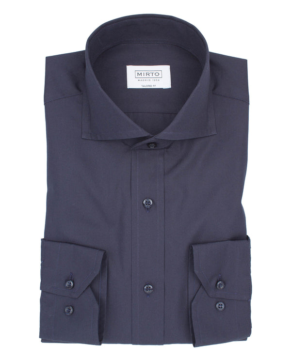 NAVY SPREAD COLLAR TAILORED-FIT SHIRT by MIRTO