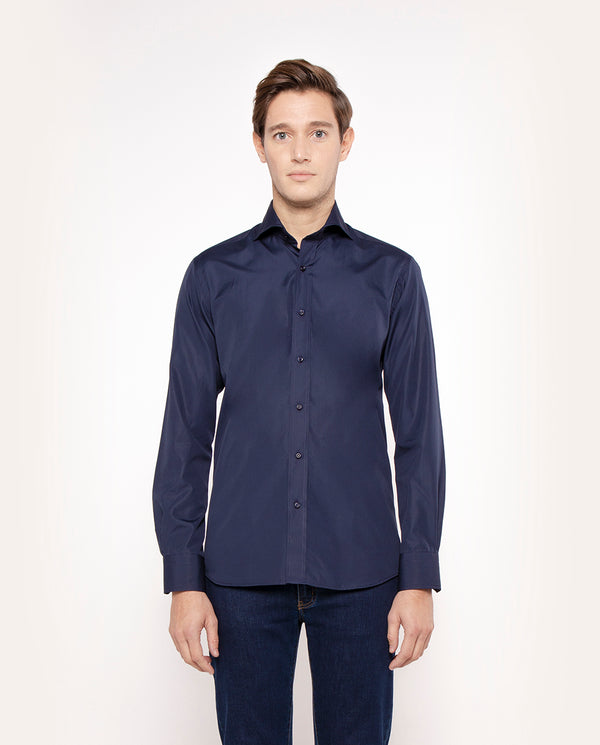 NAVY SPREAD COLLAR TAILORED-FIT SHIRT
